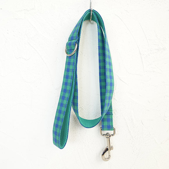 Modern Dog Leash 4ft Cotton Fabric Square Plaid for Large Small Dogs Puppies - Blue Green