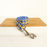 Modern Dog Leash 4ft Cotton Fabric Square Plaid for Large Small Dogs Puppies - Yellow Blue