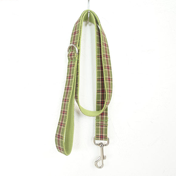 Modern Dog Leash 4ft Cotton Fabric for Large Small Dogs Puppies - Green Plaid