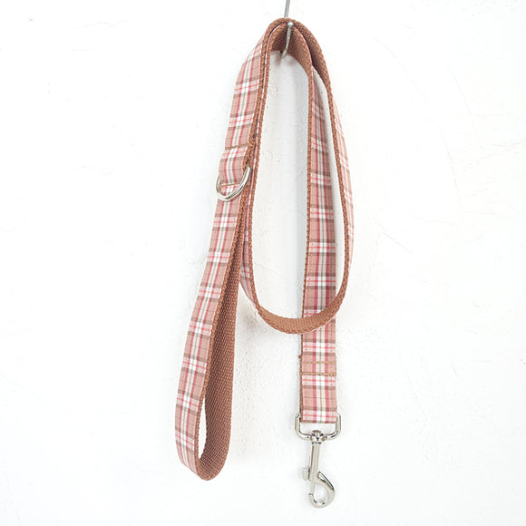 Modern Dog Leash 4ft Cotton Fabric for Large Small Dogs Puppies - Pink Brown Plaid