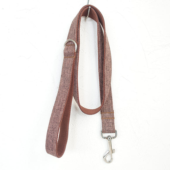 Modern Dog Leash 4ft Cotton Fabric for Large Small Dogs Puppies - Brown