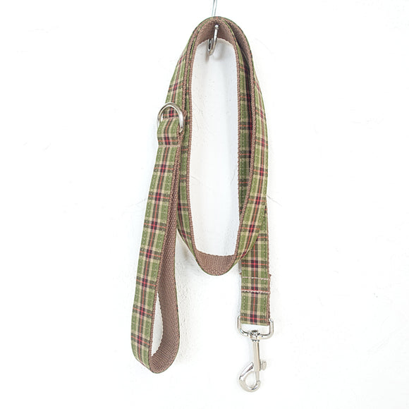 Modern Dog Leash 4ft Cotton Fabric for Large Small Dogs Puppies - Tree Plaid