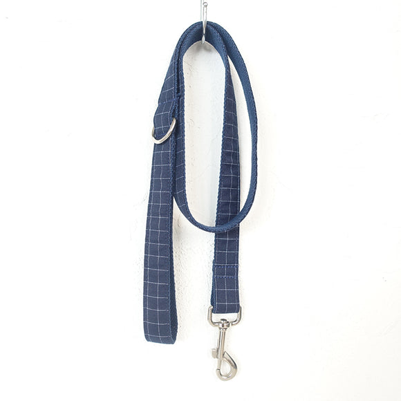 Fashion Dog Leash Plaid with Poop Bag Holder Deep Blue Suit