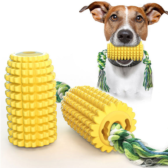 PETDURO Dog Chew Toys Corn Shaped Dental Teething Toy Rubber with Rope