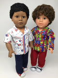 18 inch boy doll clothes - pants outfit - patriotic print shirt