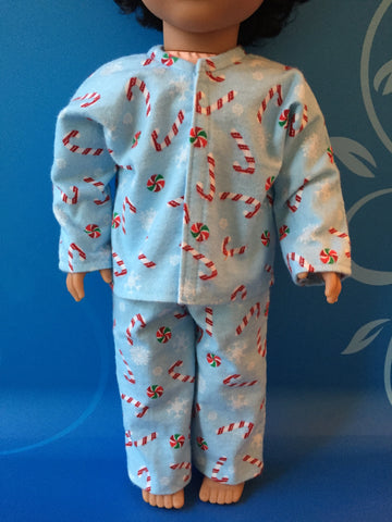 18 inch boy doll clothes - pjs - candy canes