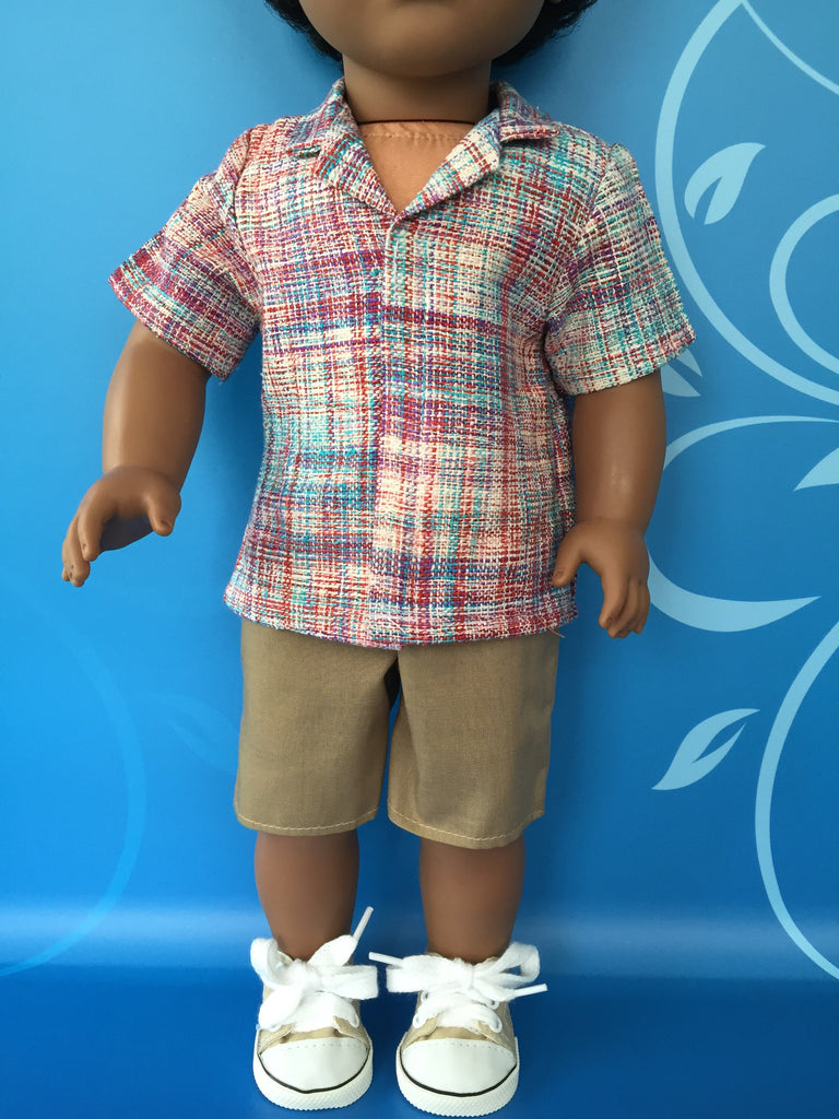 boy doll clothes - shorts outfit - print tailored shirt 2