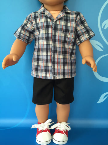 boy doll clothes - shorts outfit - print tailored shirt 4