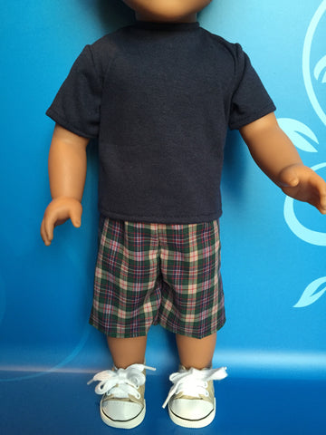 boy doll clothes - shorts outfit plaid 3