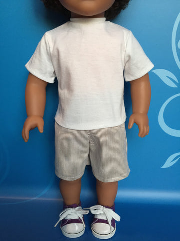 boy doll clothes - striped shorts outfit 1
