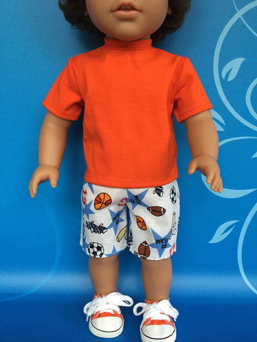 boy doll clothes - shorts outfit print 3