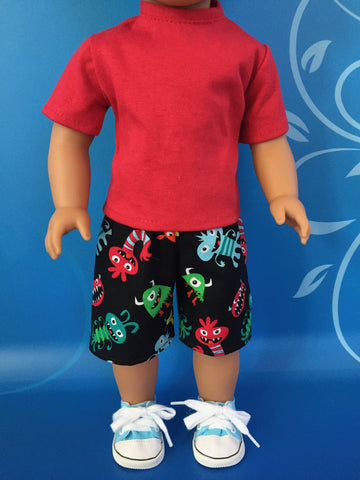 boy doll clothes - shorts outfit print 2