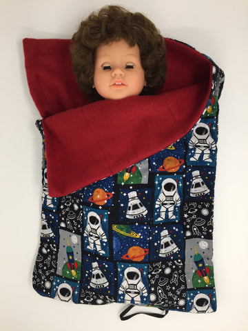 18 inch boy doll bed - sleeping bag - space sprint