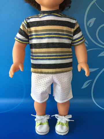 boy doll clothes - shorts outfit striped shirt 2