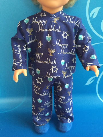 18 inch boy doll clothes - pjs - Hanukkah