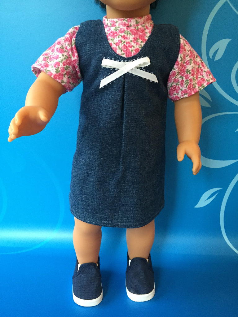 girl doll clothes - denim jumper outfit