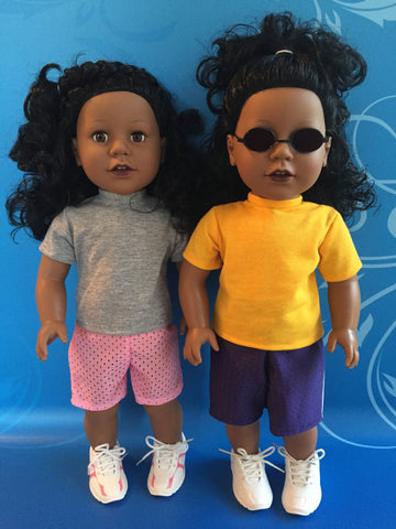 girl doll clothes - athletic shorts and t-shirt outfit