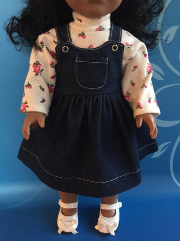 girl doll clothes - denim jumper with turtleneck outfit