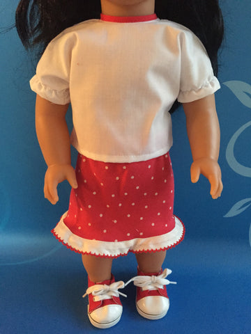 girl doll clothes - skirt outfit red