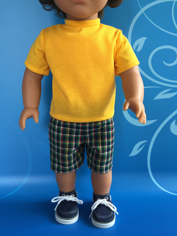 boy doll clothes - shorts outfit plaid 1