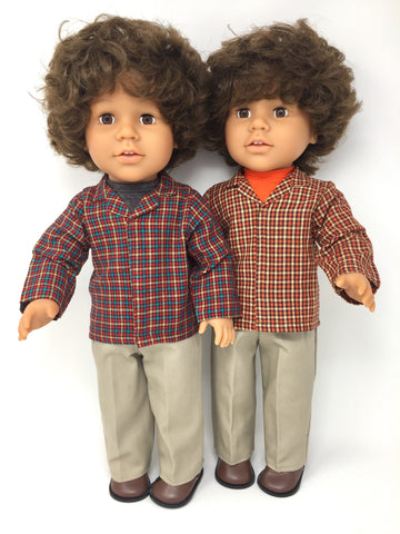 18 inch boy doll clothes - pants outfit - khakis with plaid shirts - 2 choices