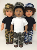 18 inch boy doll clothes - pants outfit - camo - 3 choices
