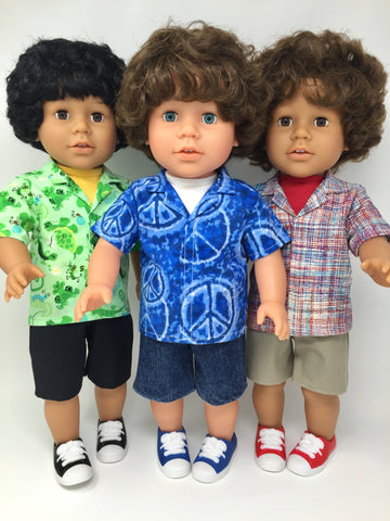 18 inch boy doll clothes - shorts outfits - 3 choices - tailored shirts