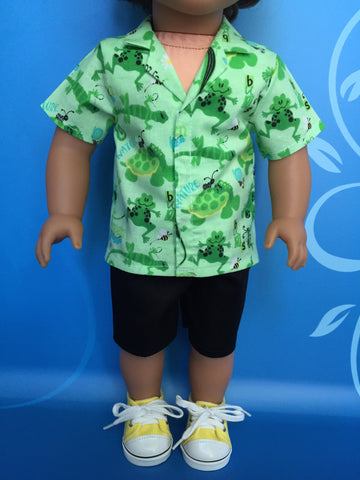 boy doll clothes - shorts outfit - print tailored shirt 1