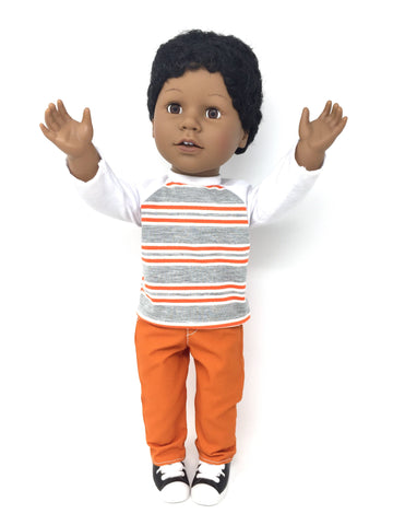 18 inch boy doll clothes - pants outfit - arms up for orange!