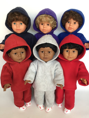 18 inch boy doll clothes - fleece sweatsuit - 6 color choices