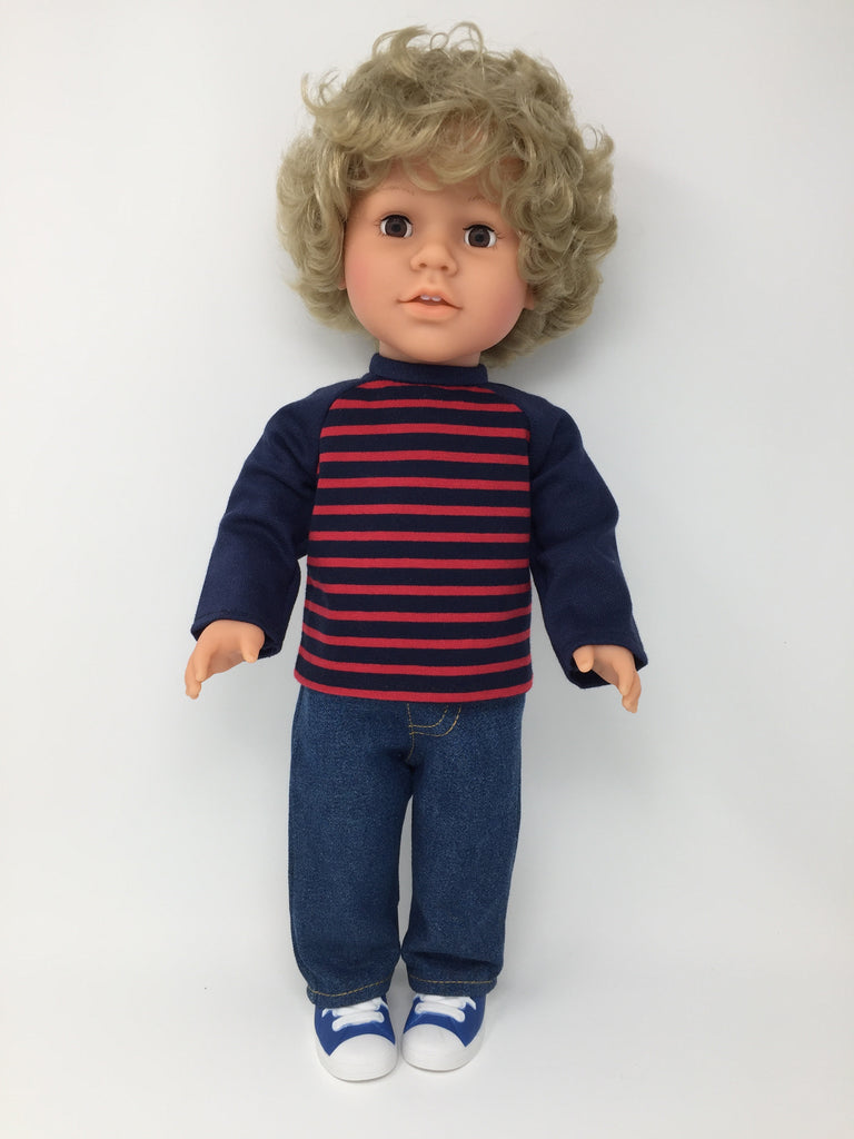 18 inch boy doll clothes - pants outfit - jeans and striped shirt