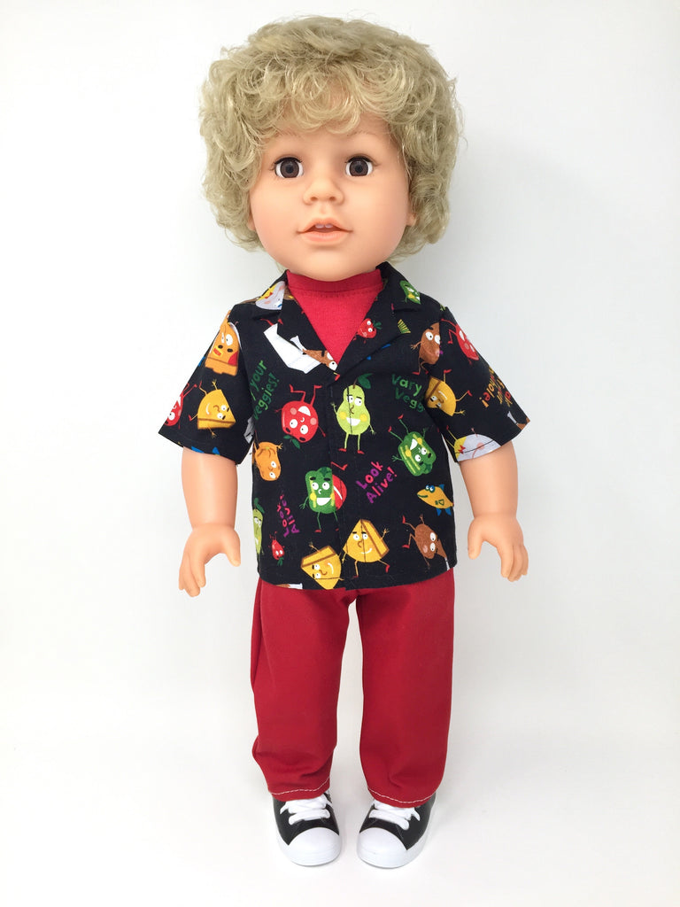 18 inch boy doll clothes - pants outfit - red jeans with healthy foods print shirt