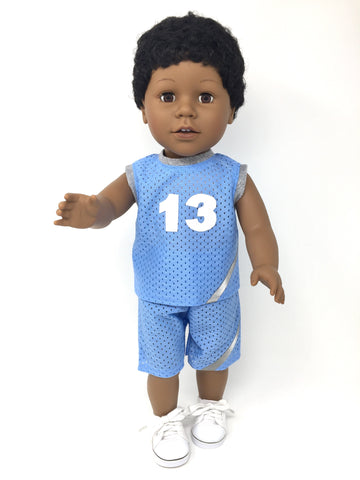 18 inch boy doll clothes - shorts outfit - basketball