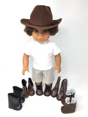 boy doll accessories - cowboy hat and 5 boot styles
