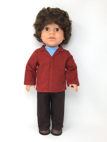 18 inch boy doll clothes - pants outfit - brown pants with red flannel shirt