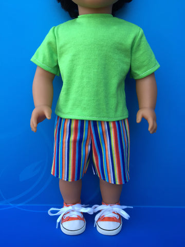 boy doll clothes - striped shorts outfit 2