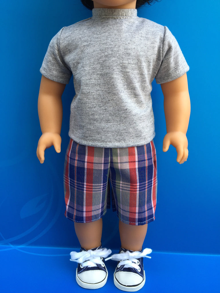boy doll clothes - shorts outfit plaid 4