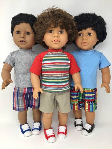 18 inch boy doll clothes - shorts outfits - 3 choices