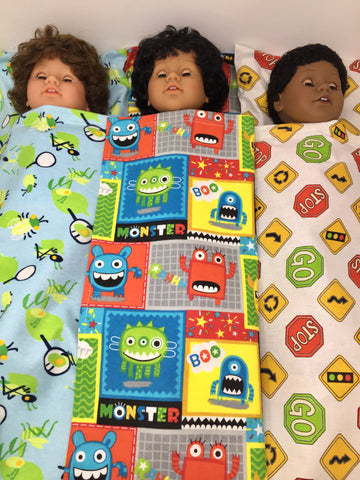 18 inch boy doll bed sheet and pillow set - 3 choices
