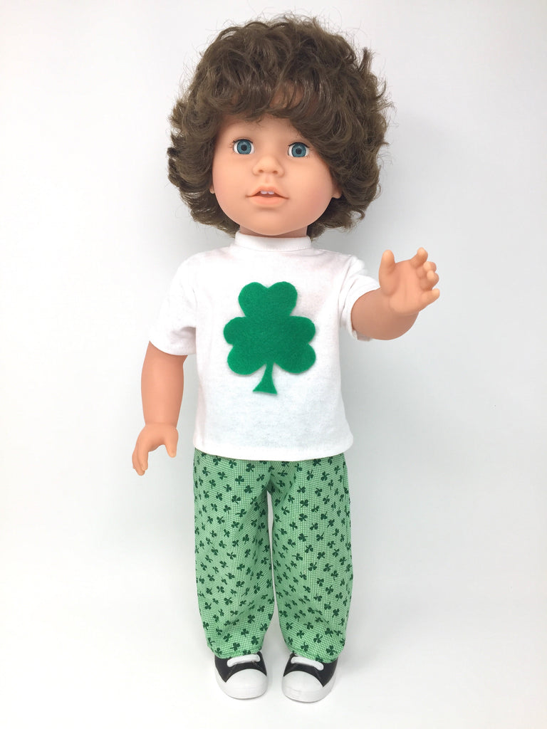 18 inch boy doll clothes - pants outfit - shamrock print