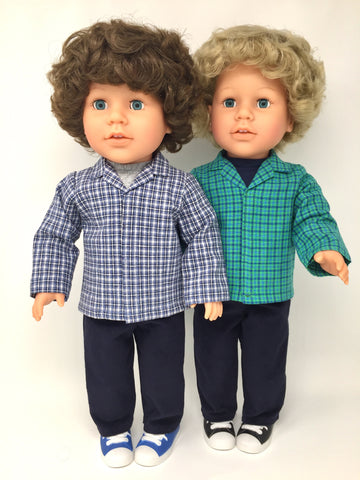 18 inch boy doll clothes - pants outfit - navy cords - 2 choices