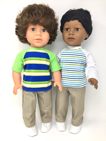 18 inch boy doll clothes - pants outfit - khaki pants and striped shirt