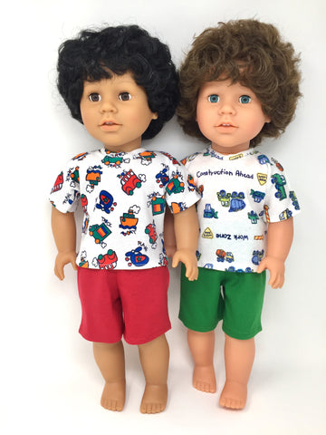 18 inch boy doll clothes - pjs shorts set - 2 choices
