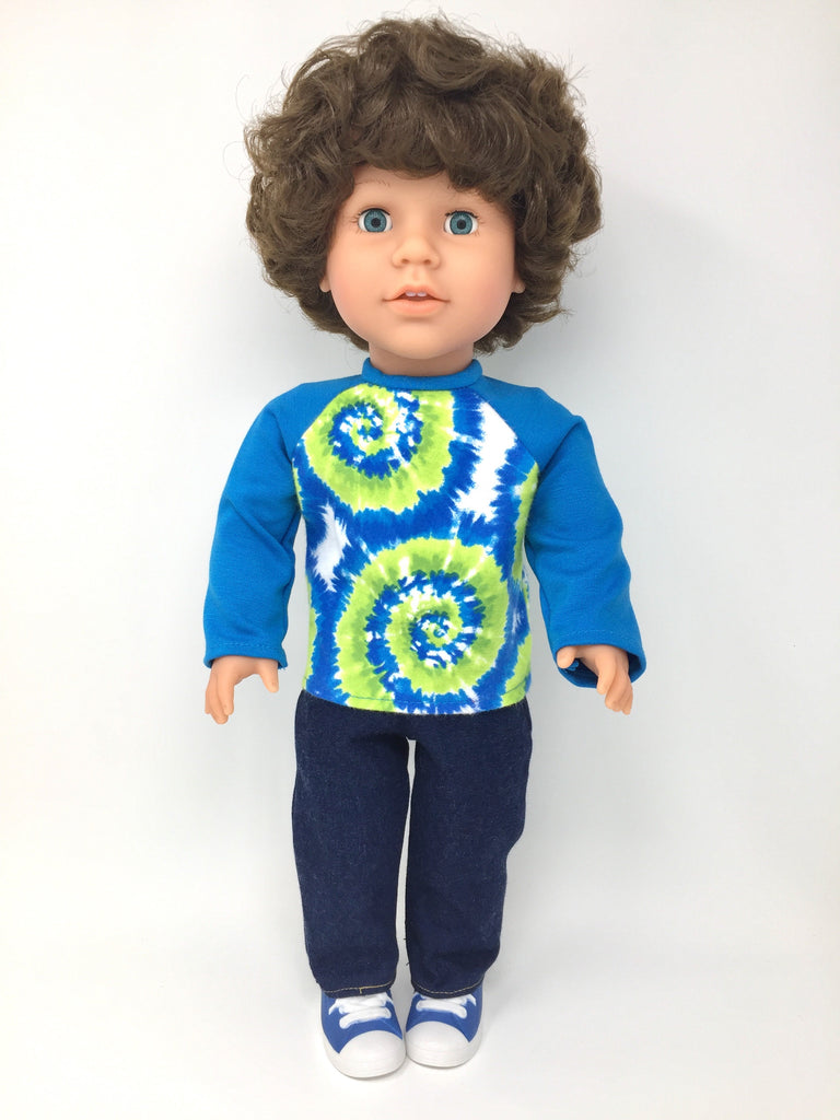 18 inch boy doll clothes - pants outfit - tie dye shirt and jeans