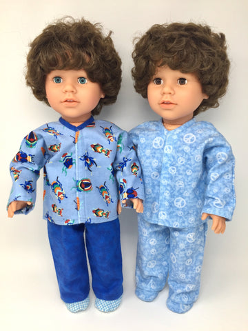 18 inch boy doll clothes - pjs - insect print and peace signs