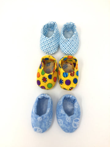 boy doll footwear - slippers - 3 color choices