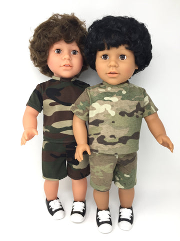 18 inch boy doll clothes - shorts outfit - camo - 2 choices