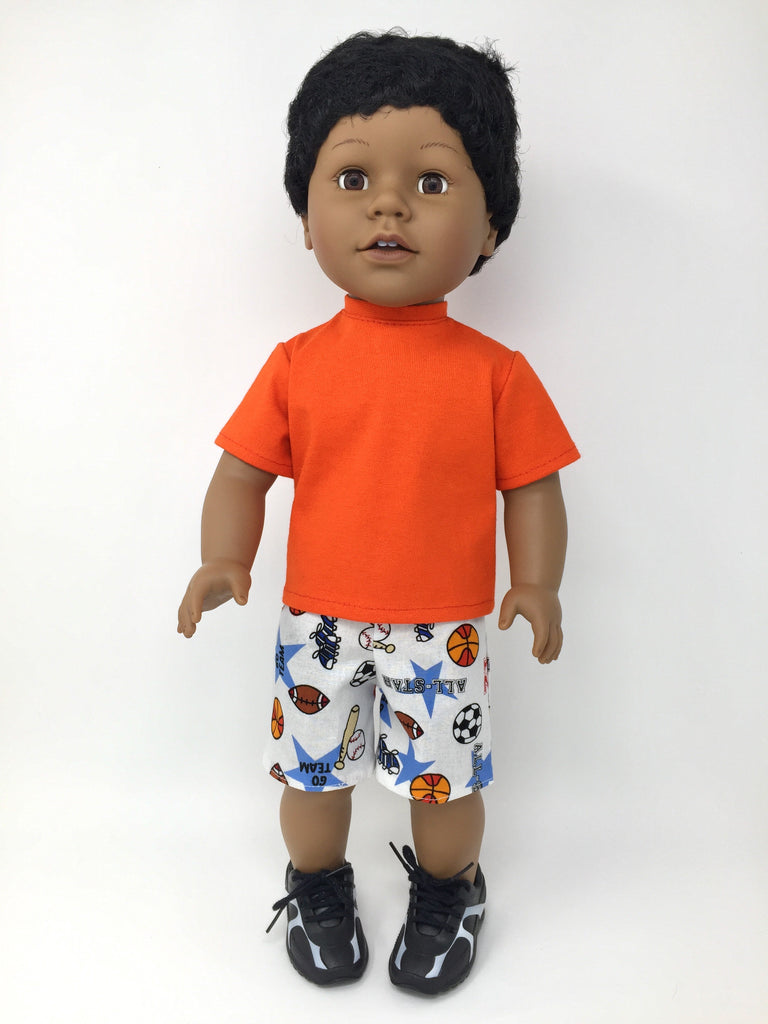 18 inch boy doll clothes - shorts outfits - sports prints - 2 choices