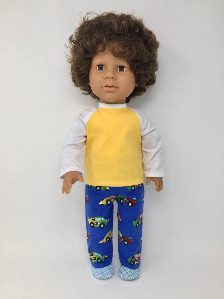 18 inch boy doll clothes - pjs - race cars, traffic signs, monster trucks