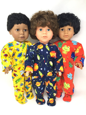 18 inch boy doll clothes - pjs onesies - 3 choices